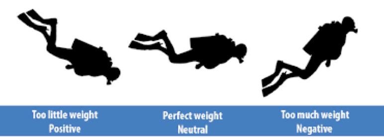 Como afecta el lastre a nuestra posición de buceo.  La posición de buceo afecta al consumo de aire de los buceadores.