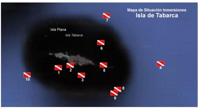 Mapa de buceo de Tabarca