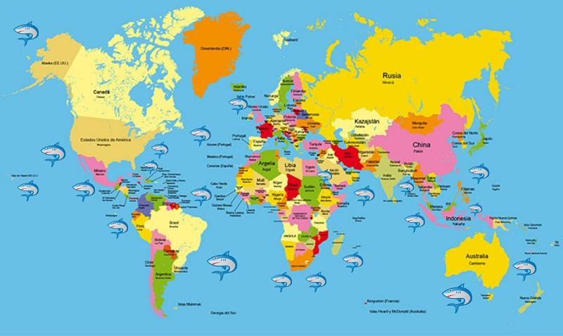 Mapa con los mejores sitios del mundo para bucear con tiburones.