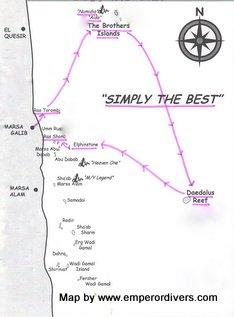 Mapa de la ruta del Mar Rojo Brothers, Daedalus, Elphinstone