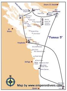 Ruta de buceo mar rojo. Famous Five